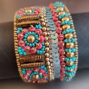 Cuffed Bohemian style indian beads used for design